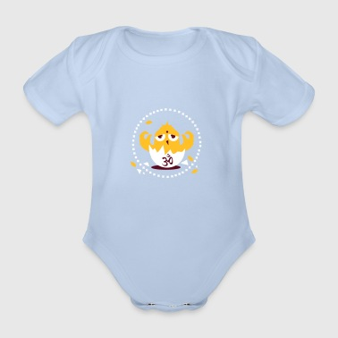 zen meditation chick with Om sign - Organic Short-sleeved Baby Bodysuit