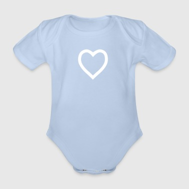 Heart outline - Organic Short-sleeved Baby Bodysuit