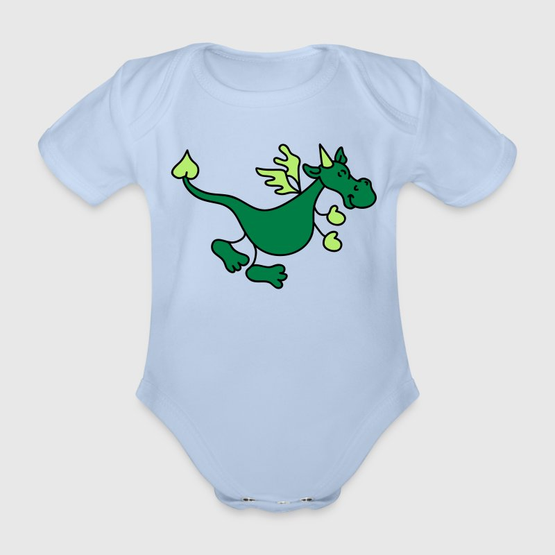 Cute Green Dragon - Ekologisk kortärmad babybody