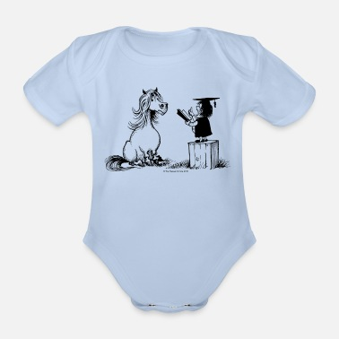 Thelwell - Pony in school - Organic Short-Sleeved Baby Bodysuit