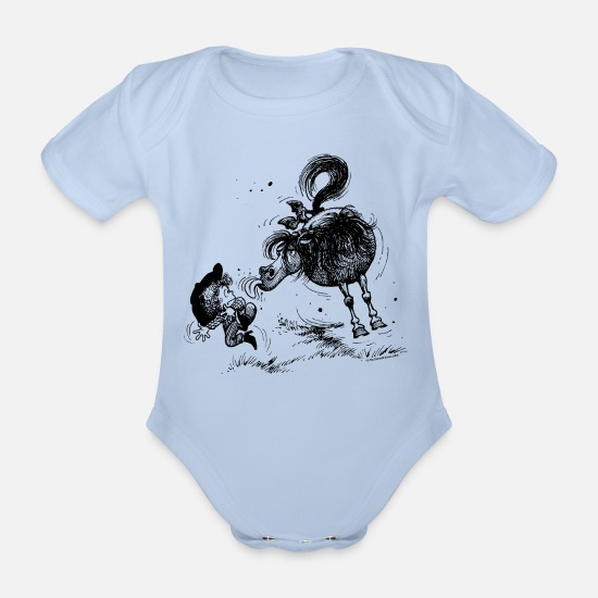 Officialbrands Baby Clothes - Thelwell 'Pony sticks out his tounge. - Organic Short-Sleeved Baby Bodysuit sky
