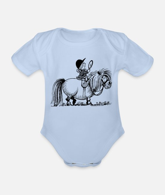 Dressuur Baby bodies - Thelwell - Penelope with a mirror - Rompertje met korte mouwen sky