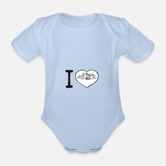 Love Baby Clothes - I love climbing I love climbing bouldering heart 1 - Organic Short-Sleeved Baby Bodysuit sky