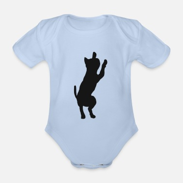 House Tiger Cat kitty cats silhouette house tiger - Organic Short-Sleeved Baby Bodysuit