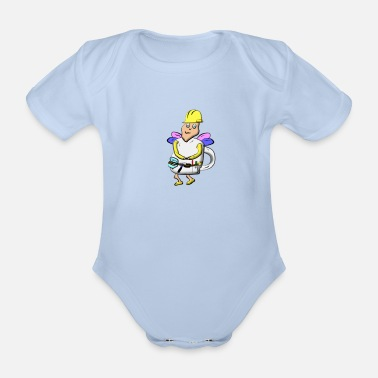 Builder mug fairy - Organic Short-Sleeved Baby Bodysuit