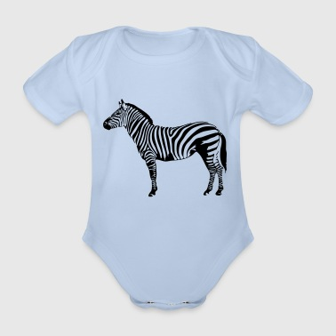 Zebra wildlife wilderness nature striped - Organic Short-sleeved Baby Bodysuit
