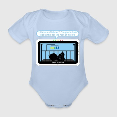 Boy baby monitor - Labour - Organic Short-sleeved Baby Bodysuit