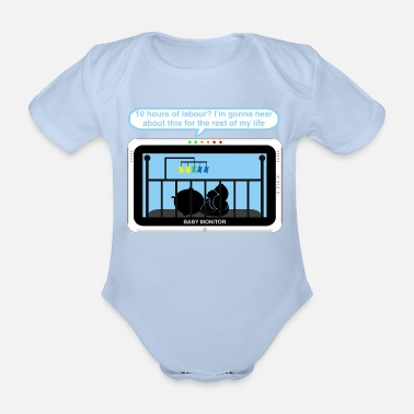 Labour Boy baby monitor - Labour - Organic Short-Sleeved Baby Bodysuit