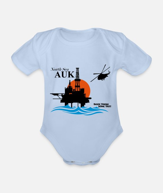 Office Baby Bodysuits - Auk North Sea Oil Rig Platform Aberdeen - Organic Short-Sleeved Baby Bodysuit sky