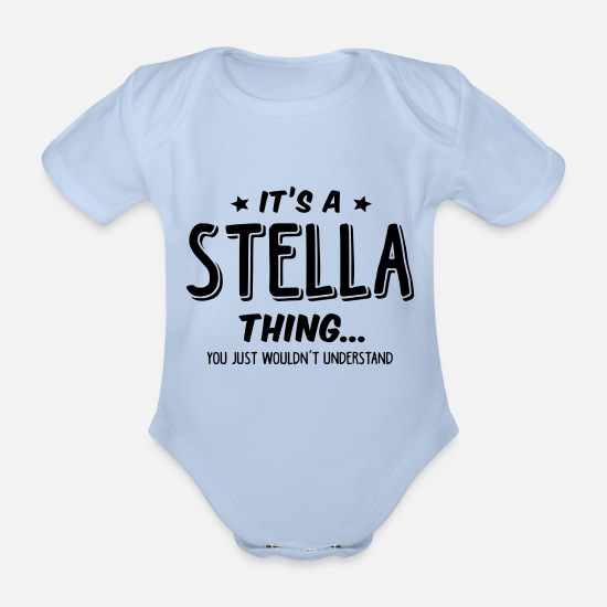 Stella Baby Clothes - stella its a name thing - Organic Short-Sleeved Baby Bodysuit sky