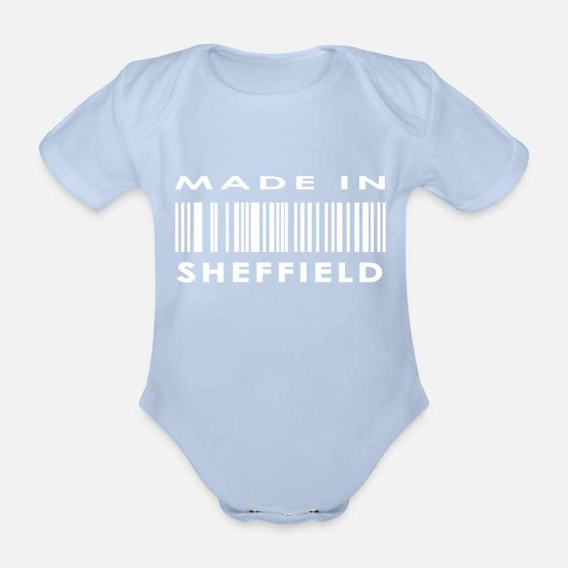 Sheffield Baby Clothing - Made in Sheffield - Organic Short-Sleeved Baby Bodysuit sky
