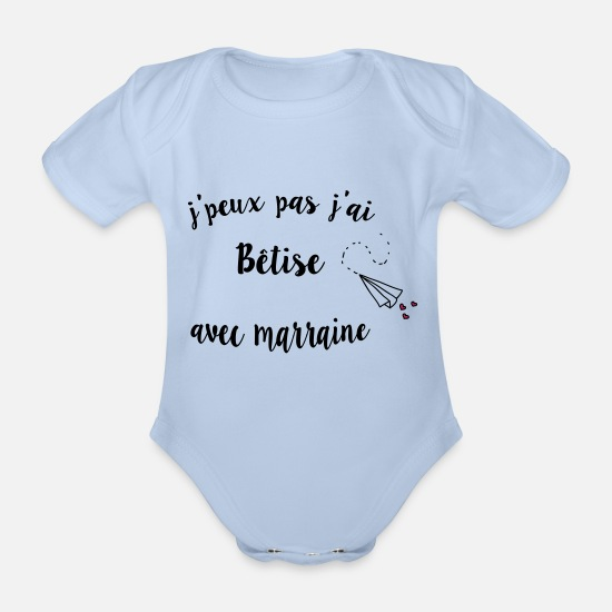 Insanity Baby Clothes - I can not be stupid with godmother - Organic Short-Sleeved Baby Bodysuit sky