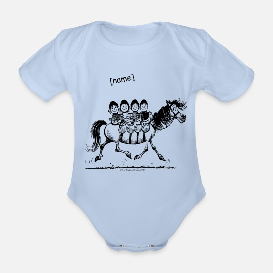 Officialbrands Baby Clothes - Gang of four Thelwell Cartoon - Organic Short-Sleeved Baby Bodysuit sky