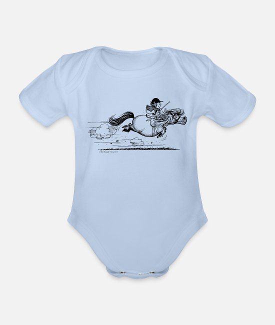 Western Baby bodies - Pony rent Thelwell Cartoon - Rompertje met korte mouwen sky