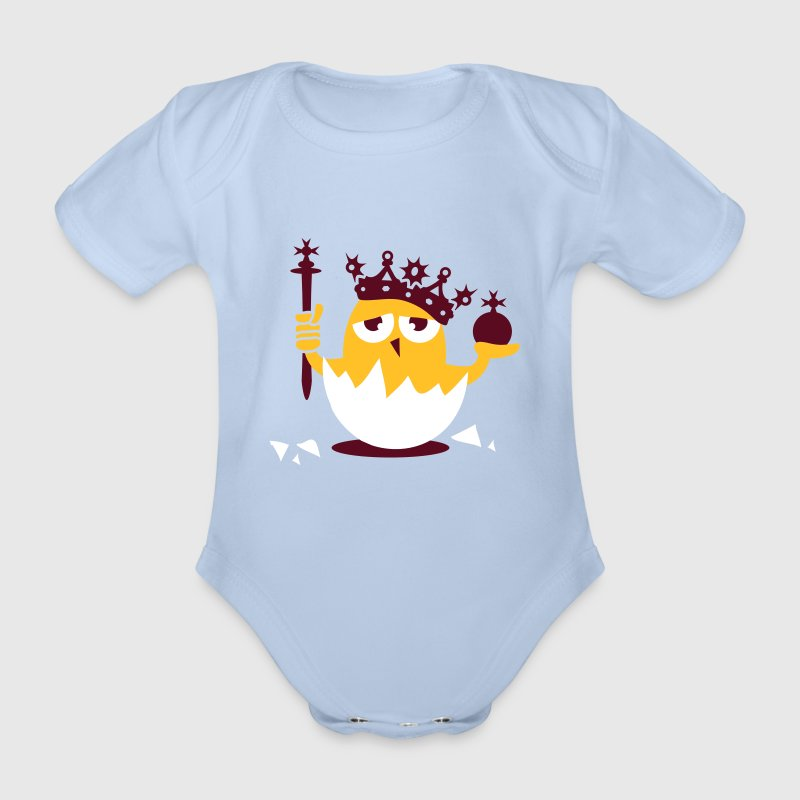 Chick king with crown and scepter - Organic Short-sleeved Baby Bodysuit