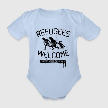 Antifa Refugees Welcome - black - Baby Bio-Kurzarm-Body