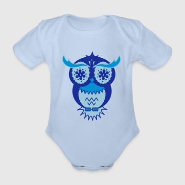 Psychedelic A psychedelic owl - Organic Short-sleeved Baby Bodysuit