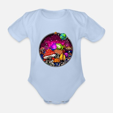 Hallucinogen Psychedelic Magic Mushrooms Hallucinogenic Frog - Organic Short-Sleeved Baby Bodysuit