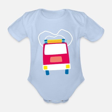 Streaker lalülala fire department car - Organic Short-sleeved Baby Bodysuit