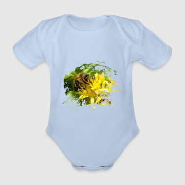 Bees pollinate plants and produce sweet honey - Organic Short-sleeved Baby Bodysuit