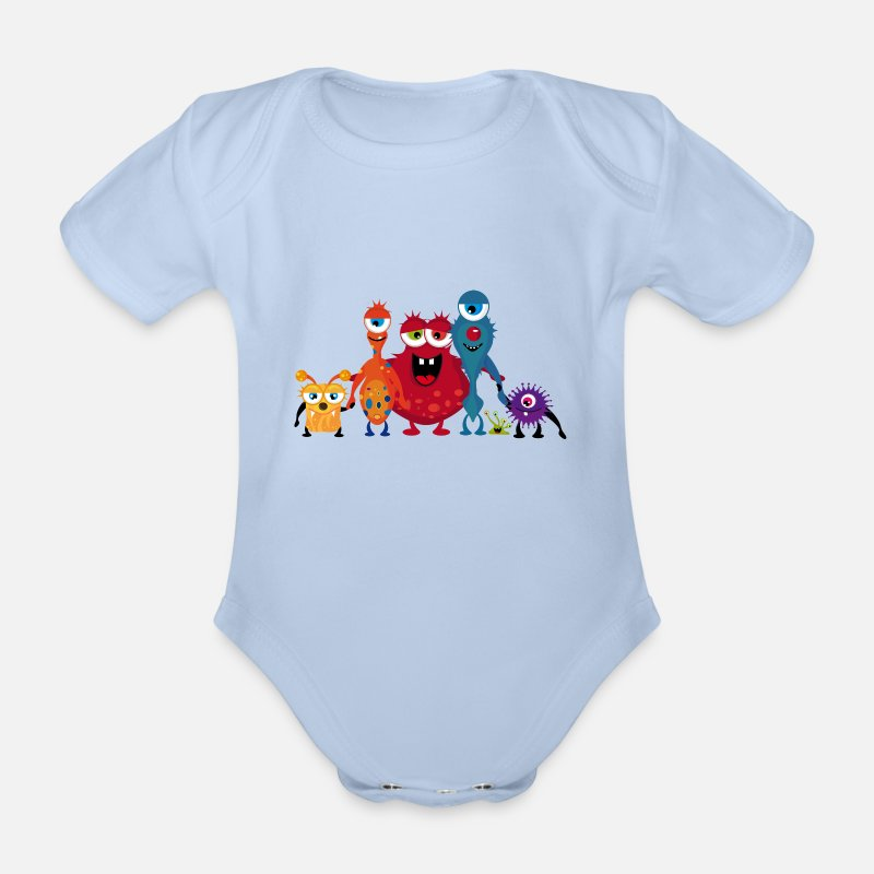 Cheerful Baby Clothing - A colorful monsters family  - Short-Sleeved Baby Bodysuit sky