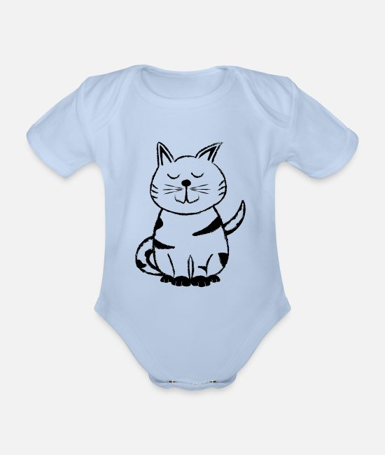 Cat Lady Baby Bodysuits - Diego the Cat 1 - Organic Short-Sleeved Baby Bodysuit sky