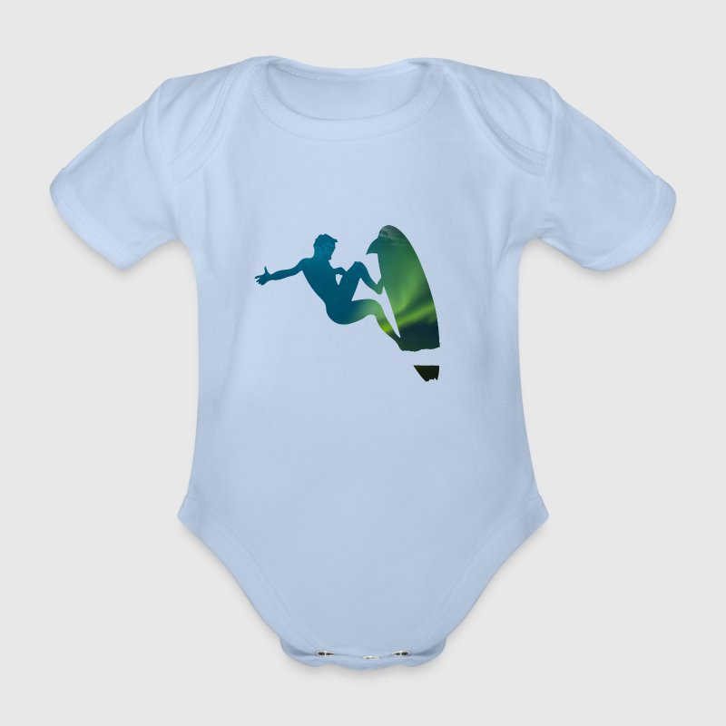 Nordlichter Surfer - Welle Surfer Sports Motiv 01 - Baby Bio-Kurzarm-Body