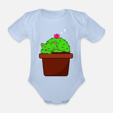 Catus Sleepy Catus - Tired Cat Cactus - Organic Short-Sleeved Baby Bodysuit