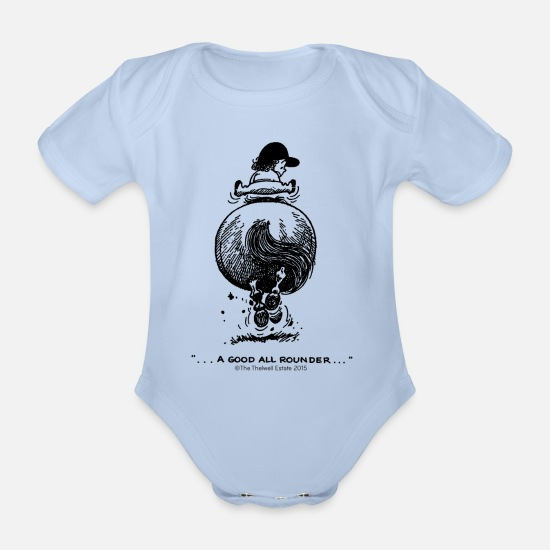 Thelwell Baby Clothes - PonyGalopp Thelwell Cartoon - Organic Short-Sleeved Baby Bodysuit sky
