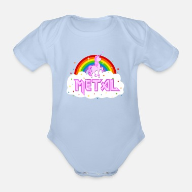Metal metal music heavy unicorn rainbow funny - Organic Short-sleeved Baby Bodysuit