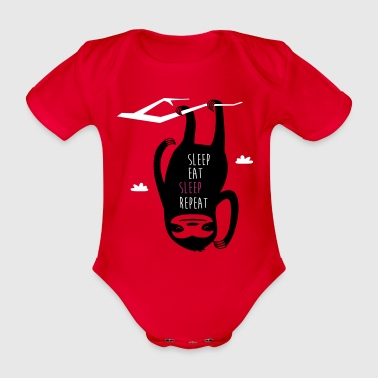 Sleep Eat Sleep Repeat Sloth - Organic Short-sleeved Baby Bodysuit