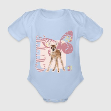 Animal Planet Cute Deer with Butterfly - Organic Short-sleeved Baby Bodysuit