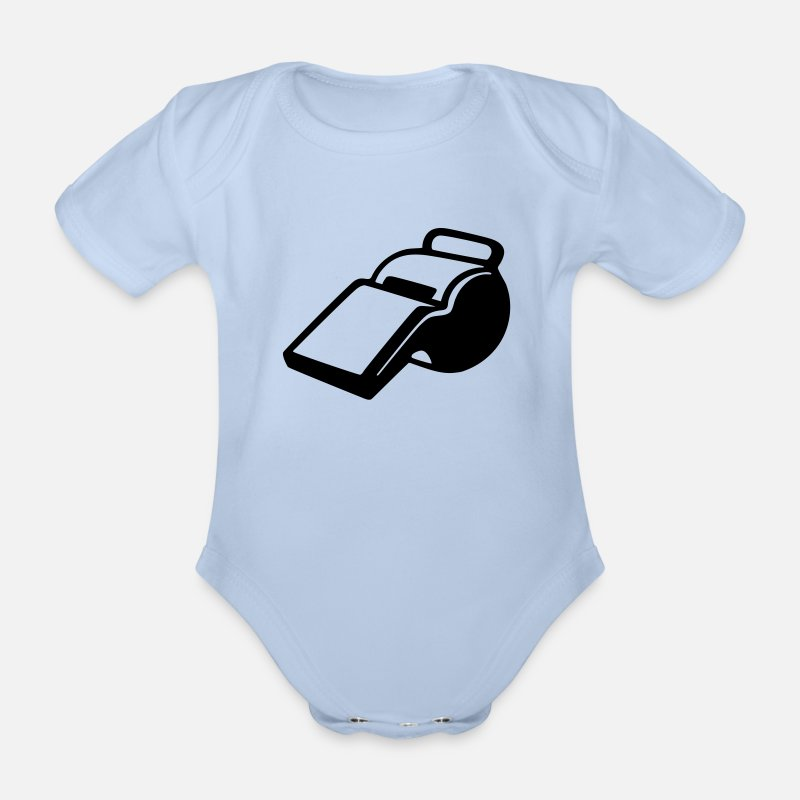 Pipe Baby Clothing - Soccer - referee  - Short-Sleeved Baby Bodysuit sky