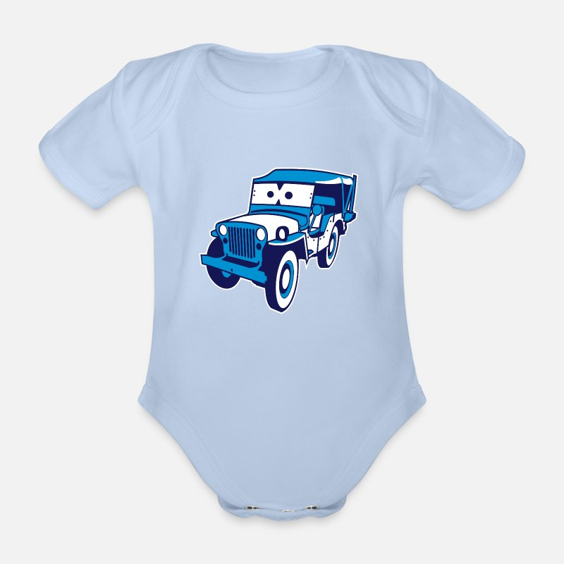 Animal Baby Clothing - Cars for Kids: Safari-Jeep - Short-Sleeved Baby Bodysuit sky