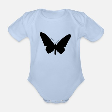 Stencil Butterfly silhouette black - Organic Short-sleeved Baby Bodysuit