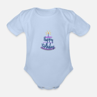 Bursdag happy Birthday - Organic Short-sleeved Baby Bodysuit