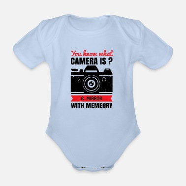 Wife A mirror with memory - camera - Organic Short-Sleeved Baby Bodysuit