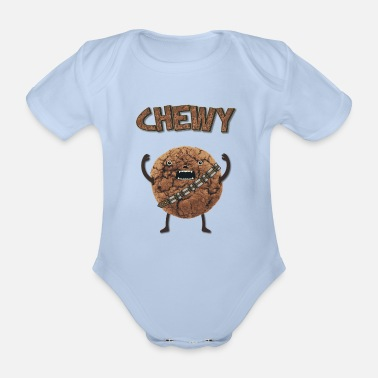 Funny Nerd Humor - Chewy Chocolate Cookie Wookiee - Organic Short-sleeved Baby Bodysuit