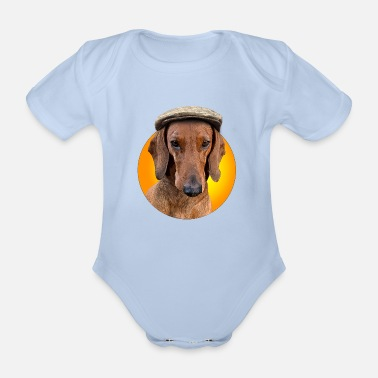 Picture Dog Dachshund Hugo with cap on his head - Organic Short-Sleeved Baby Bodysuit