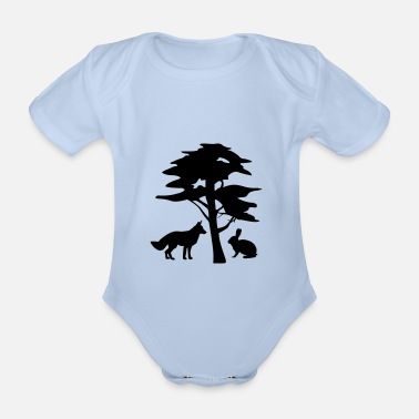 Fox and Rabbit under a tree - Organic Short-Sleeved Baby Bodysuit