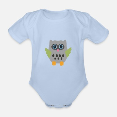 Grey Grey Owl - Organic Short-Sleeved Baby Bodysuit