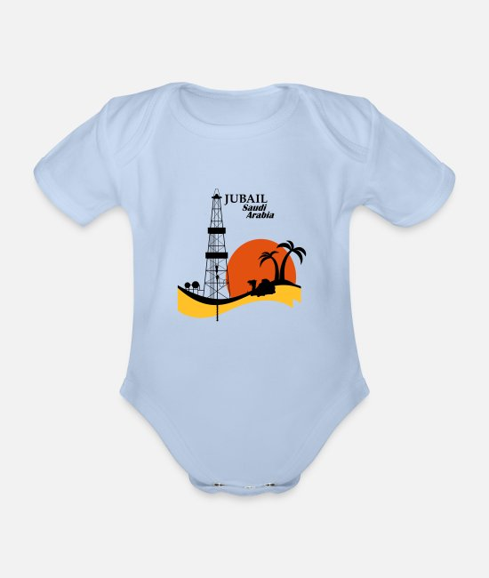 Middle East Baby Bodysuits - Oil Rig Jubail Saudi Arabia Middle East - Organic Short-Sleeved Baby Bodysuit sky