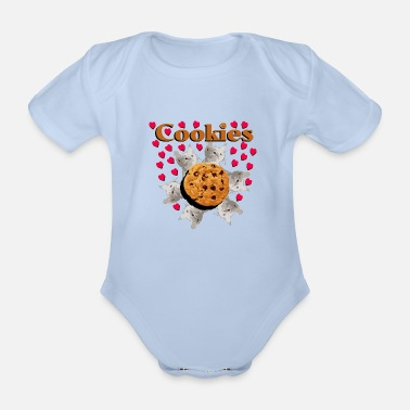 Pull The Root Cookies and cat biscuits cats heart cat head - Organic Short-Sleeved Baby Bodysuit