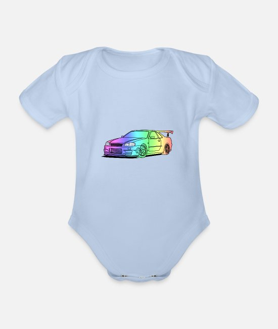 Cars Baby Bodysuits - colourful car - Organic Short-Sleeved Baby Bodysuit sky