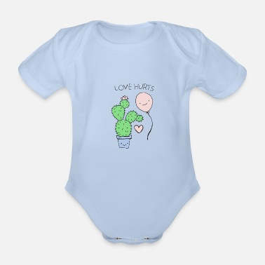 Hurt Love Hurts / Love Hurts / Cactus and Balloon - Organic Short-Sleeved Baby Bodysuit