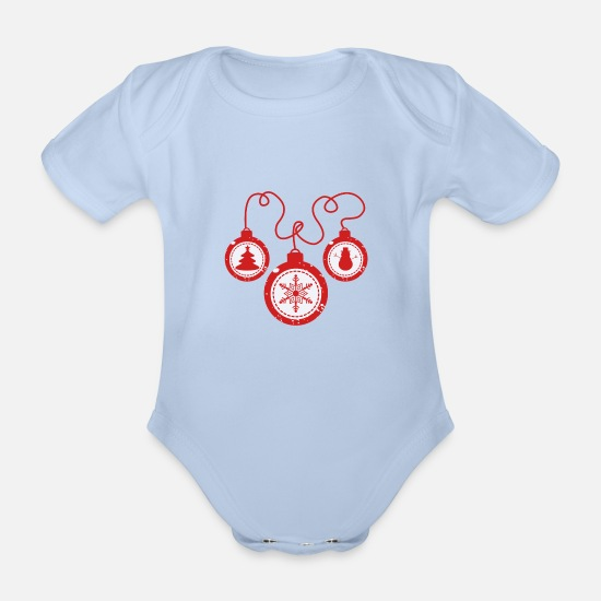 Ice Floe Baby Clothes - Xmas balls - Organic Short-Sleeved Baby Bodysuit sky