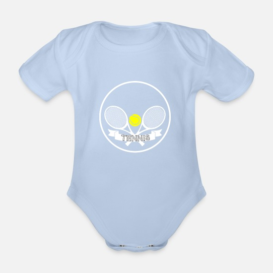 Tennis Match Baby Clothes - Tennis - Ready for a 1 vs. 1? - Organic Short-Sleeved Baby Bodysuit sky