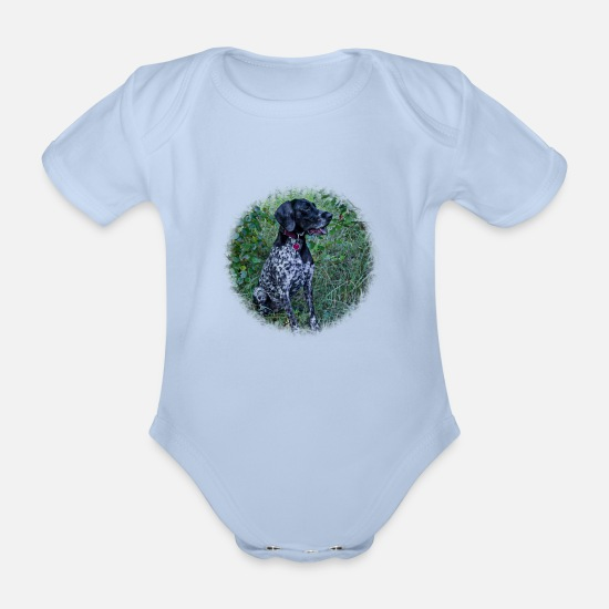 Forest Baby Clothes - Hound Dog German Shorthaired Pointer - Organic Short-Sleeved Baby Bodysuit sky