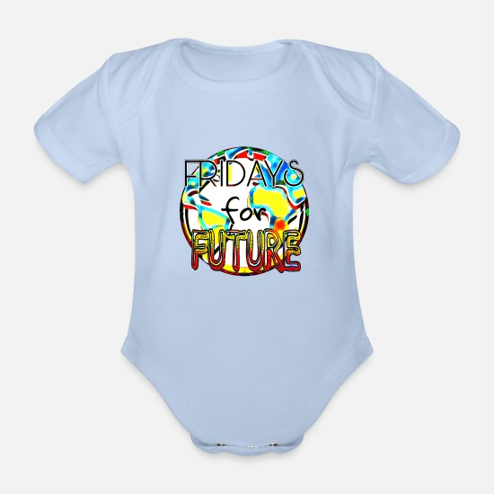 Carbon Dioxide Baby Clothes - Fridays for Future - Organic Short-Sleeved Baby Bodysuit sky