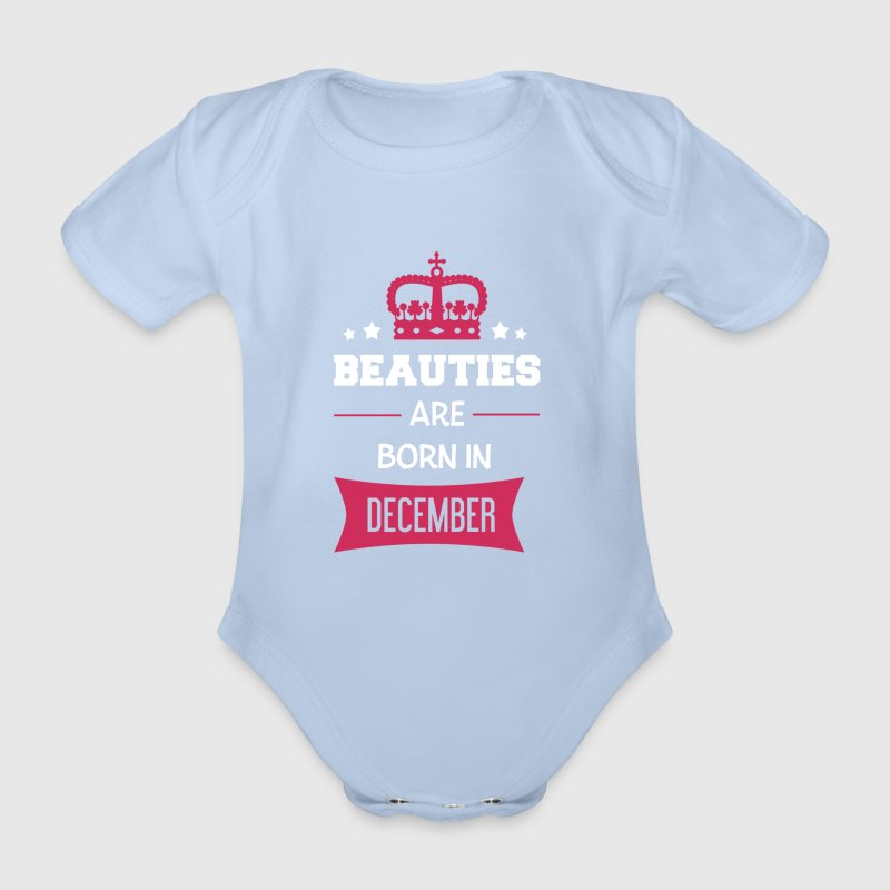 Beauties are born in December - Organic Short-sleeved Baby Bodysuit